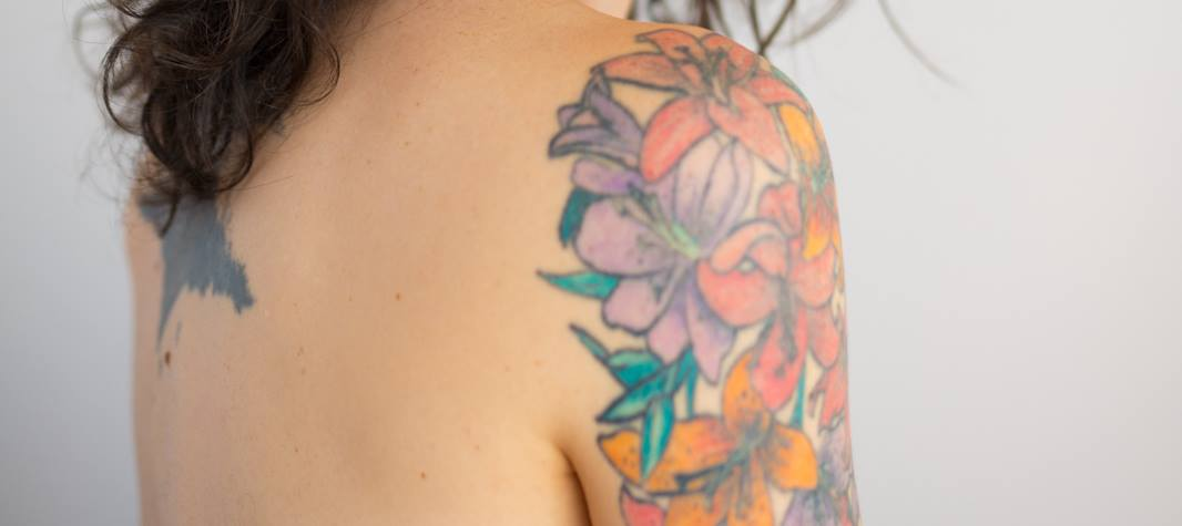 Woman with shoulder tattoo